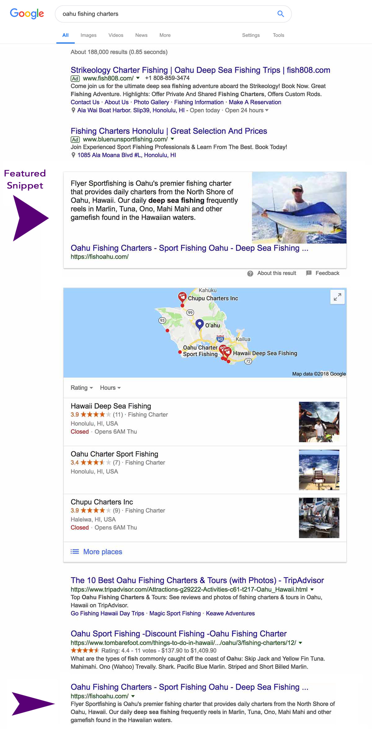 Fishing Charter featured snippet on Google's SERPS