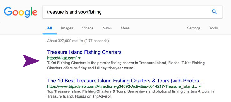 Fishing charter SEO Results